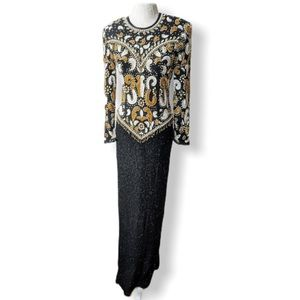 VINTAGE 80's Black Gold Beaded Sequin SCALA Gown